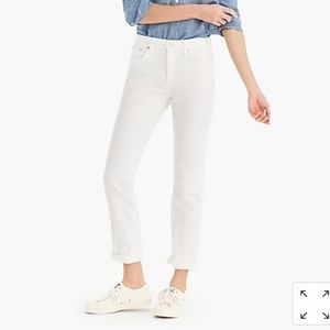 White J. Crew Slim Broken in Boyfriend Jeans